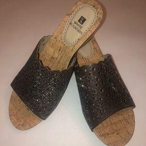 White Mountain Wedge Embellished Sandals NWT